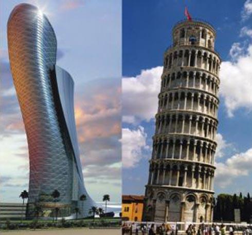 el edificio ubicado en abu dhabi tiene una inclinacin de grados cuatro veces ms que la torre de pisa italia pisos y metro de alto